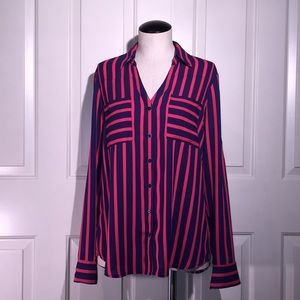 Express navy / red striped blouse